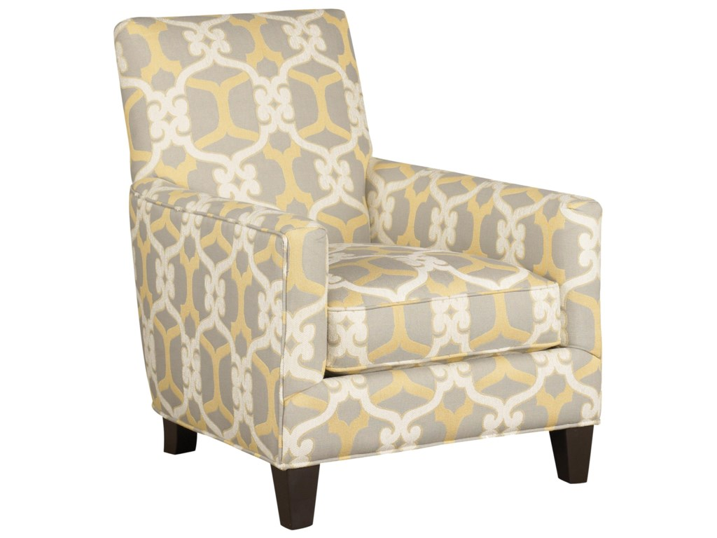 Accentuates contemporary accent chair with track arms
