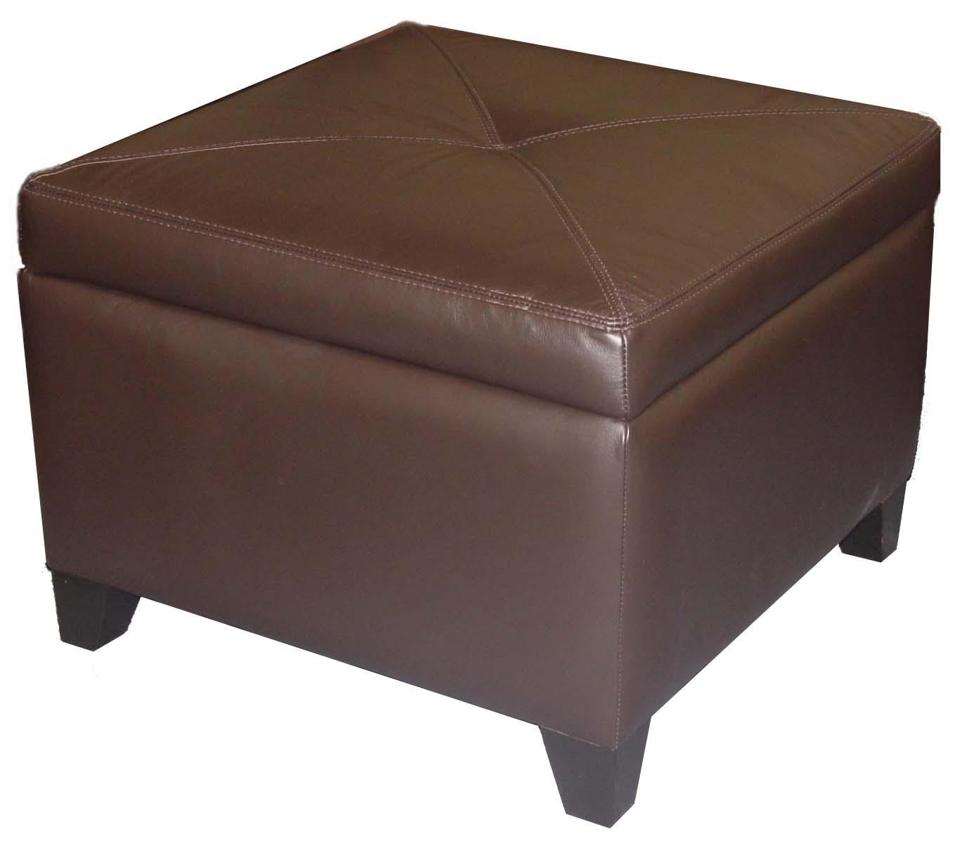 Beau Accentuates Miles Leather Square Storage Ottoman With Center Button Tufting  By Jonathan Louis