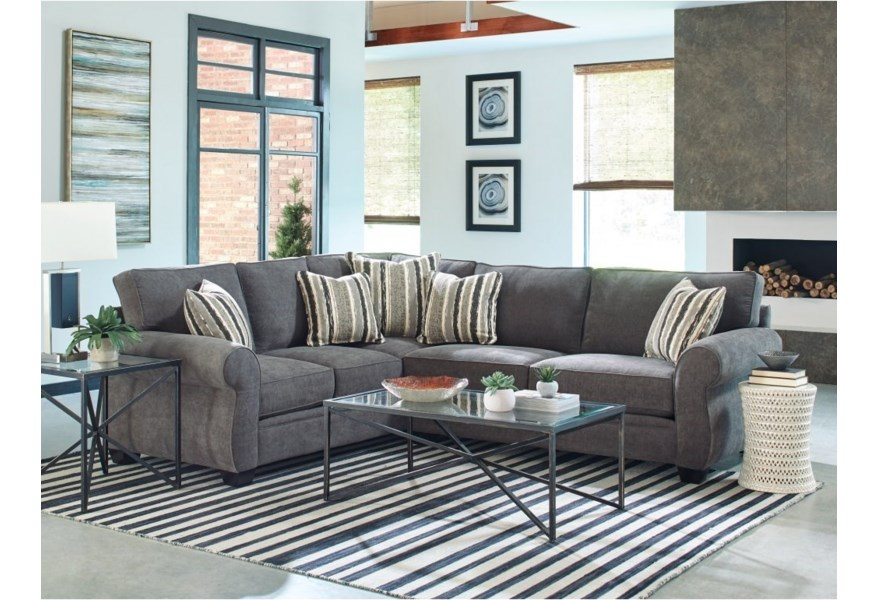 Jonathan Louis Alfred 2 Piece Stationary Sectional With Rolled Arms Fashion Furniture Sectional Sofas