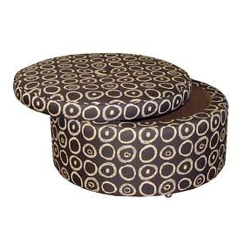 Jonathan Louis Benjamin Round Storage Ottoman with Casters
