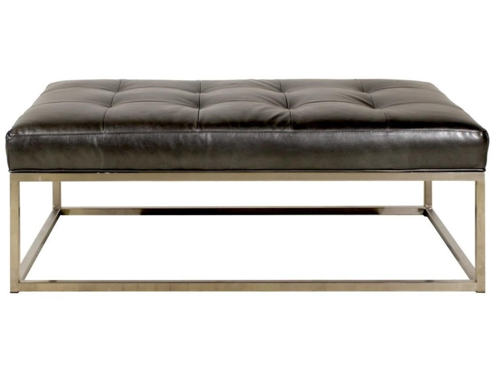Jonathan louis copley rectangular ottoman with metal base and jonathan louis copley rectangular ottoman with metal base and leather cushion homeworld furniture ottoman geotapseo Image collections