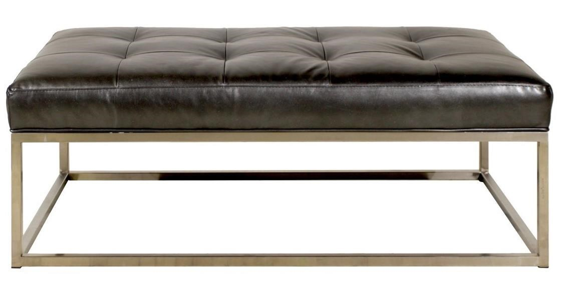 Jonathan Louis Copley Rectangular Ottoman With Metal Base And Leather  Cushion | Miskelly Furniture | Ottoman