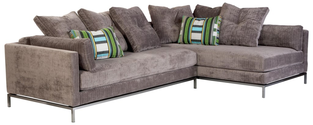 Jonathan Louis Cordoba Contemporary Sectional Sofa With Metal Base  ~ Home Theatre Sectional Sofa