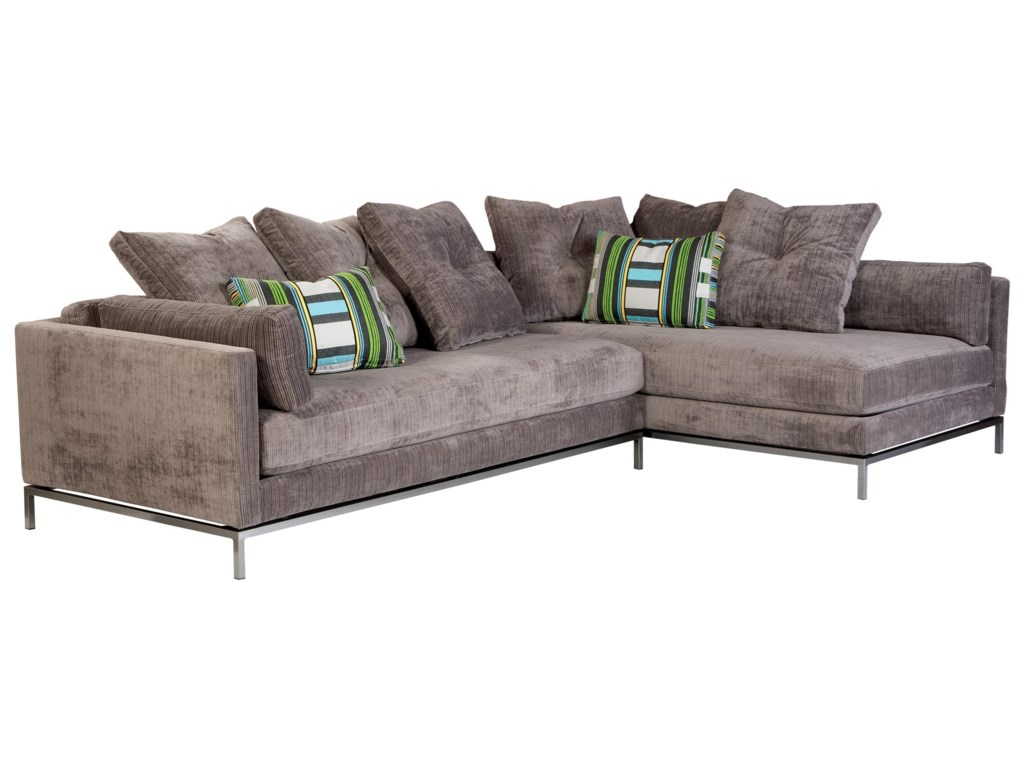 Living room furniture cordoba 2 pc sectional - Jonathan Louis Cordoba Contemporary Sectional Sofa With Metal Base Miskelly Furniture Sectional Sofas