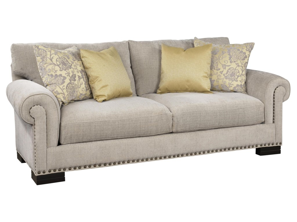 Jonathan Louis Crawford Stationary Sofa with Nailhead Trim ...