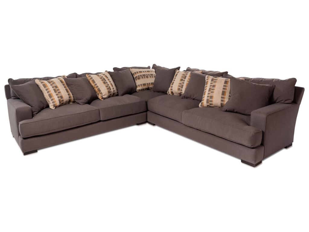 Devon 3pc Sectional Sofa W Wide Track Arms