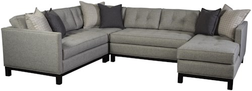 Jonathan Louis Goodwyn Contemporary Sectional Sofa with Tufted Seat Backs