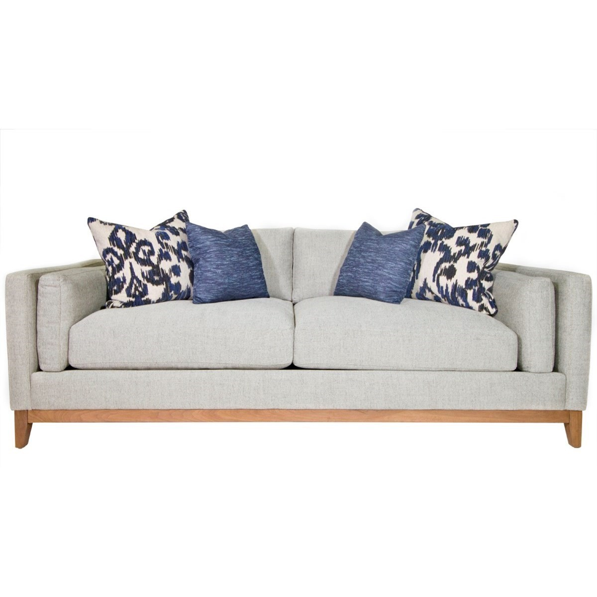 Jonathan Louis Kelsey Modern Estate Sofa With Bolster Arm Pillows And  Exposed Wood Base Rail   Darvin Furniture   Sofas