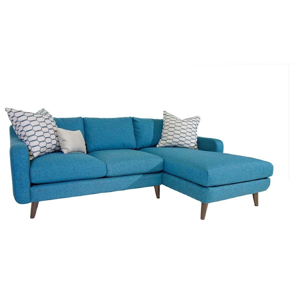 Jonathan Louis Leo Mid Century Modern Sectional Sofa With Splayed  ~ Mid Century Chaise Sofa