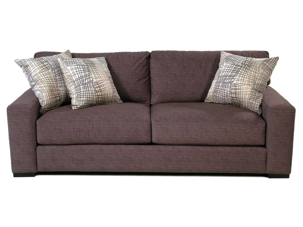 Cisco Contemporary Sofa with Track Arms and 3 Throw Pillows ...