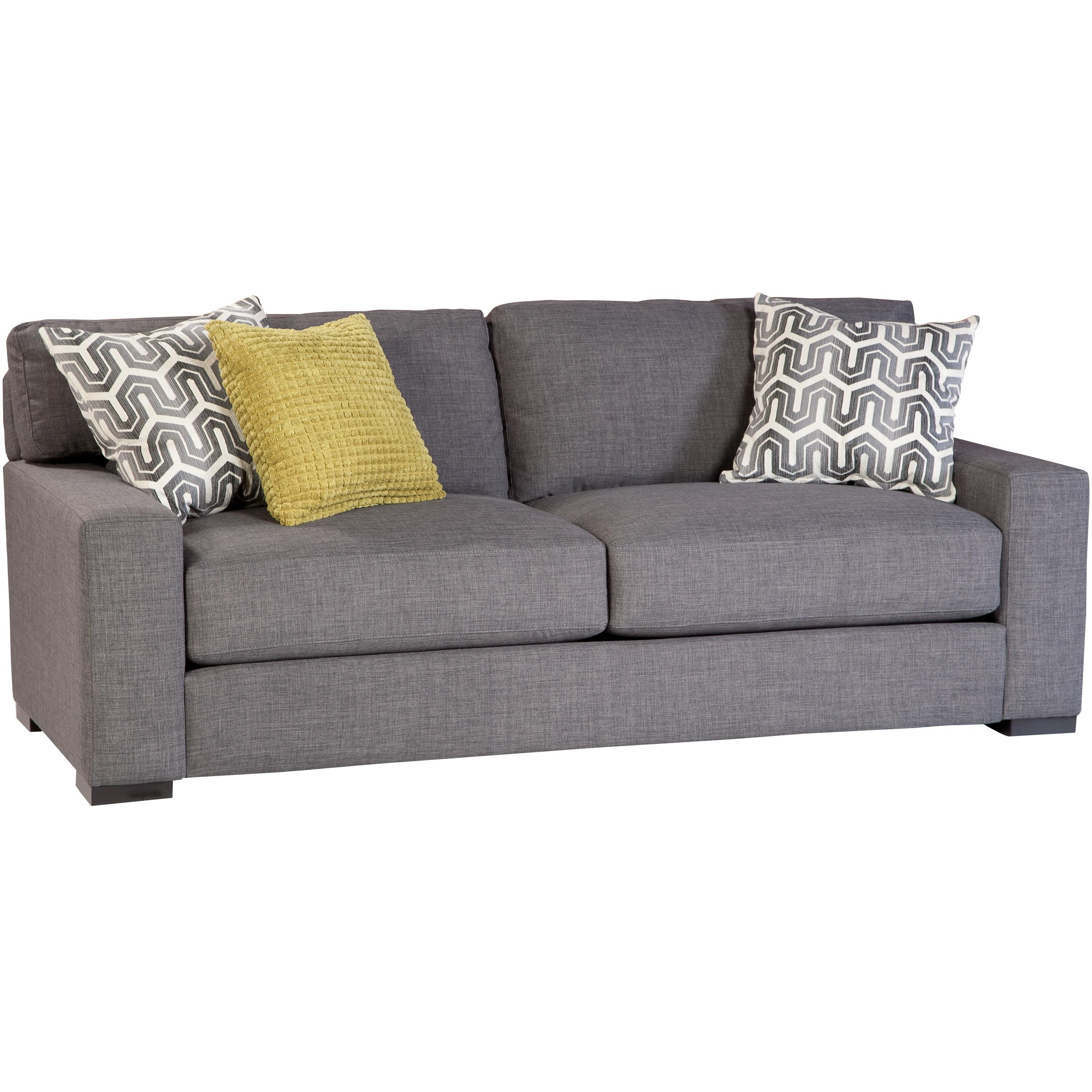Jonathan Louis Martell Contemporary Sofa With Track Arms And 3 Throw Pillows
