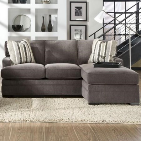 Sofa Chaise with Pluma Plush Cushions
