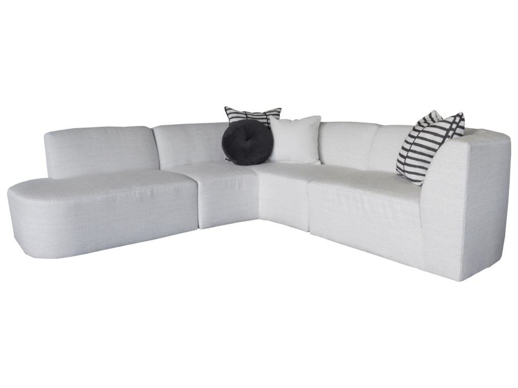 Nyla Modern 3 Piece Sectional Sofa with Bumper Chaise by Jonathan Louis at  HomeWorld Furniture