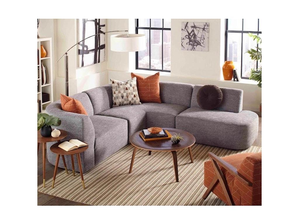 Jonathan Louis Nyla Modern 3 Piece Sectional Sofa with ...