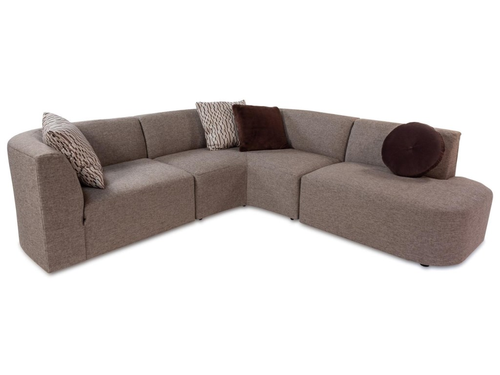 Techno Modern 3 Piece Sectional Sofa with Bumper Chaise by Jonathan Louis  at Rotmans