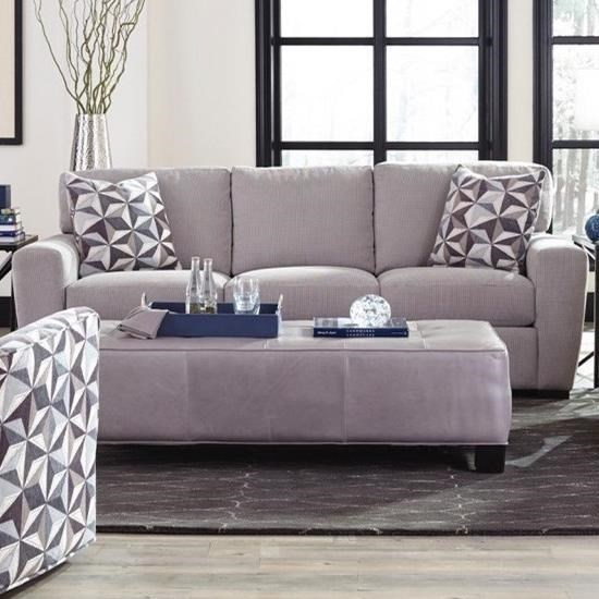 Jonathan Louis Rhodes Casual Sofa With Track Arms And Block Feet