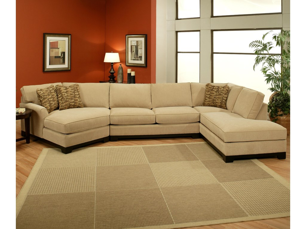 Sagittarius Casual 3 Piece Sectional With Laf Cuddler Chaise By Jonathan Louis