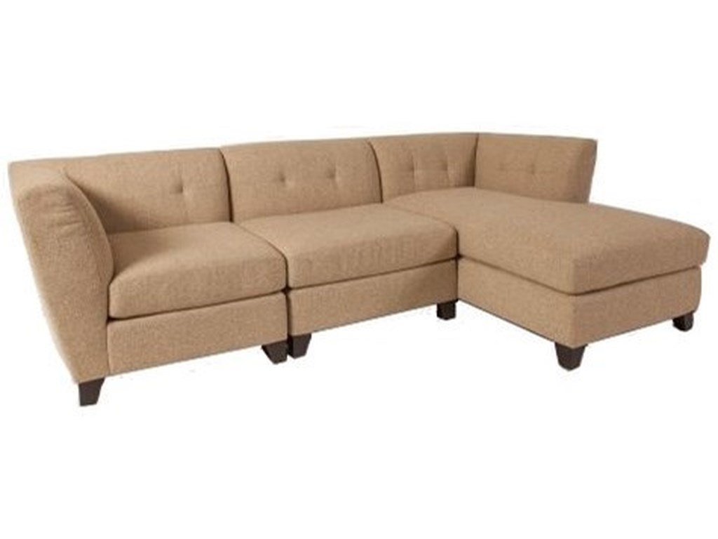 Tate Contemporary Sectional Sofa with Right Arm Facing Chaise and Tufted  Back by Jonathan Louis at Rooms and Rest