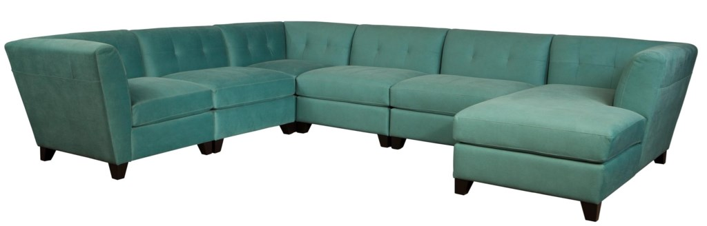 Tate contemporary sectional sofa with right arm facing chaise and tufted back by jonathan louis tate collection