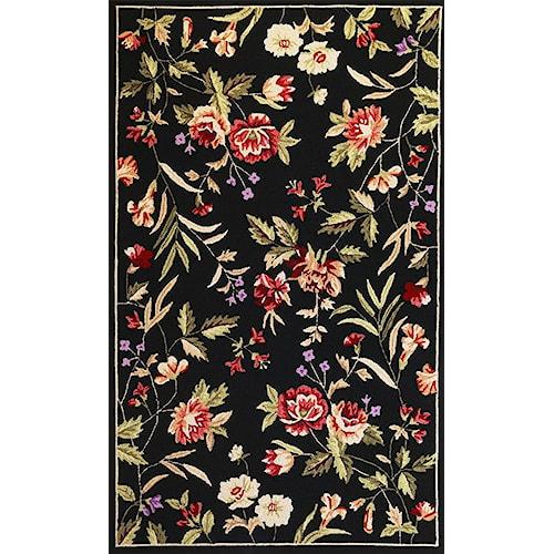 Kas Seabrook 7.6 x 9.6 Area Rug : Black Floral