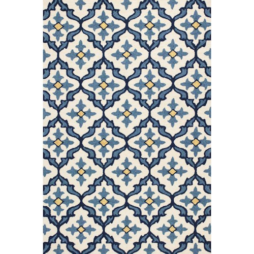Kas Harbor 2' X 3' Ivory/Blue Mosaic Area Rug
