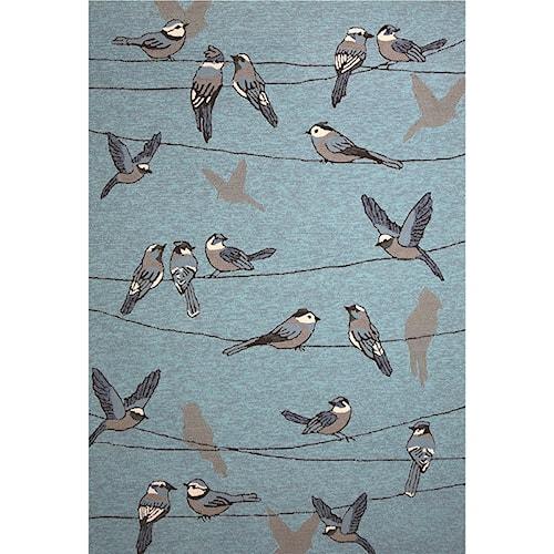 Kas Harbor 2' X 3' Blue Birds On A Wire Area Rug