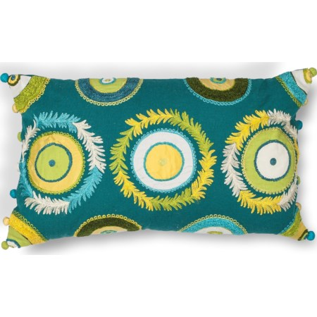 "12"" X 20"" Blue/Green Circles Pillows"