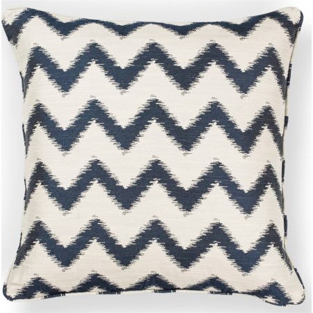 "18"" X 18"" Ivory/Navy Chevron Pillows"