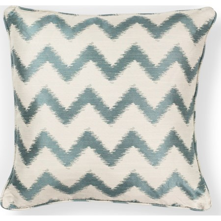 "18"" X 18"" Ivory/Lt.Blue Chevron Pillows"