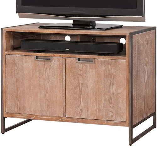 kathy ireland Home by Martin Belmont TV Stand with 2 Doors and Shelf with Industrial Styled Legs