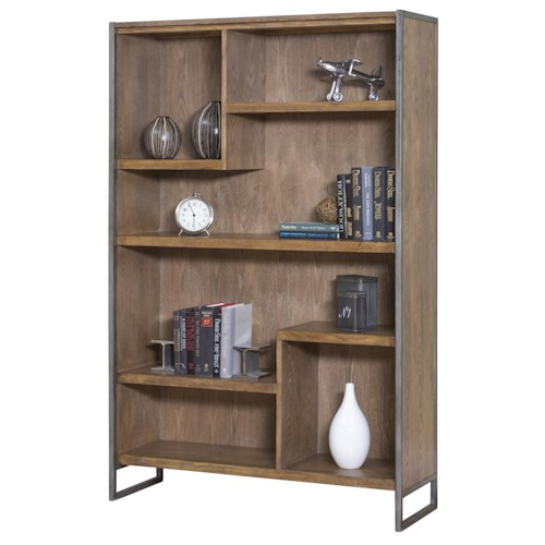 kathy ireland Home by Martin Belmont Asymmetrical 5 Shelf Bookcase with Rustic Steel Frame