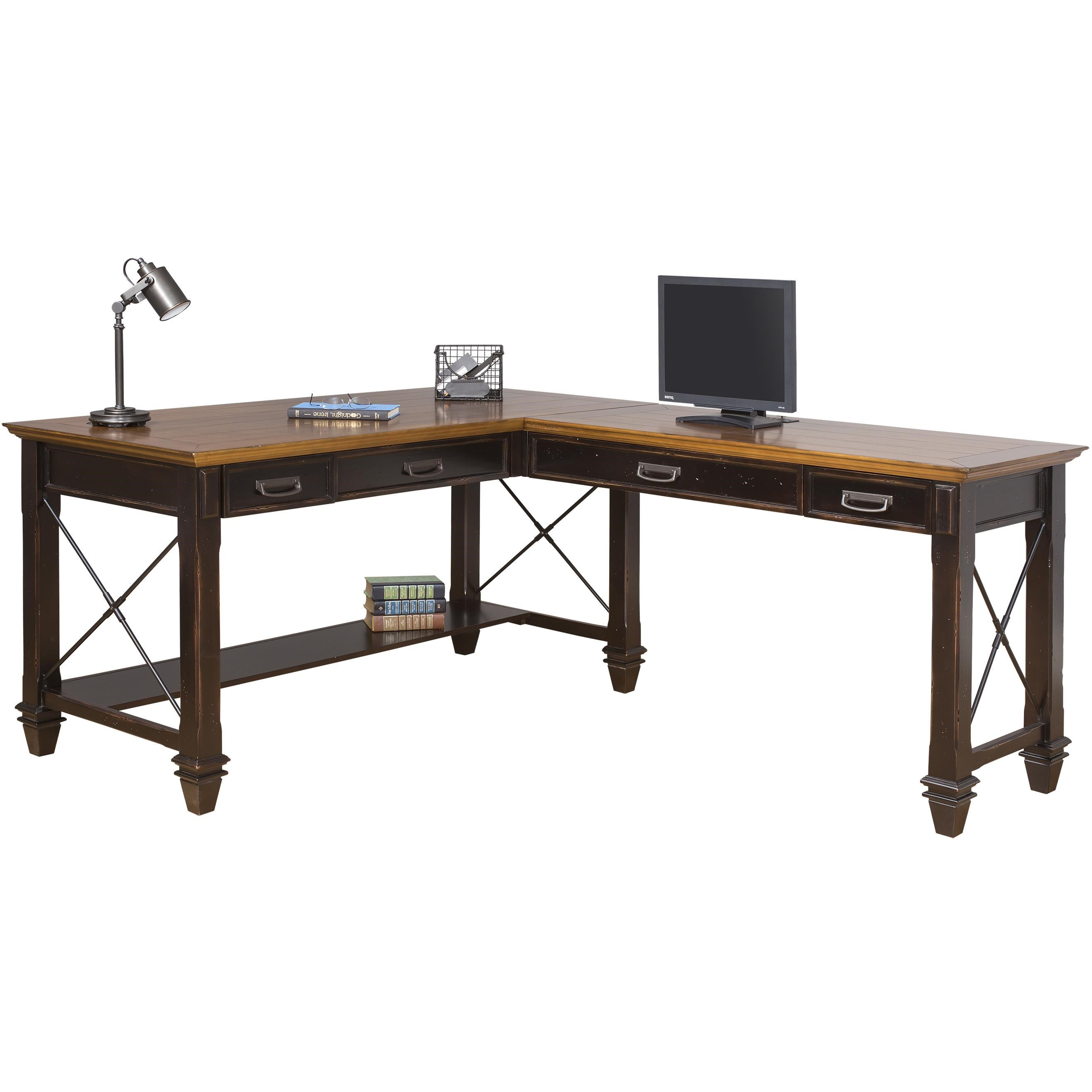 Hartford Right Hand Facing Open L Shaped Desk With 4 Drawers And Shelf By  Kathy Ireland Home By Martin