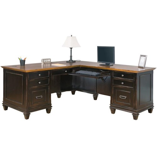 kathy ireland Home by Martin Hartford Right Hand Facing L-Shaped Desk with 8 Drawers