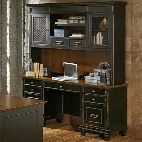 kathy ireland Home by Martin Hartford Credenza with Hutch and 9 Drawers, 2 Shelves, and 3 Doors