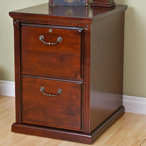 kathy ireland Home by Martin Huntington Club Traditional Two Drawer File with Fluted Pilasters