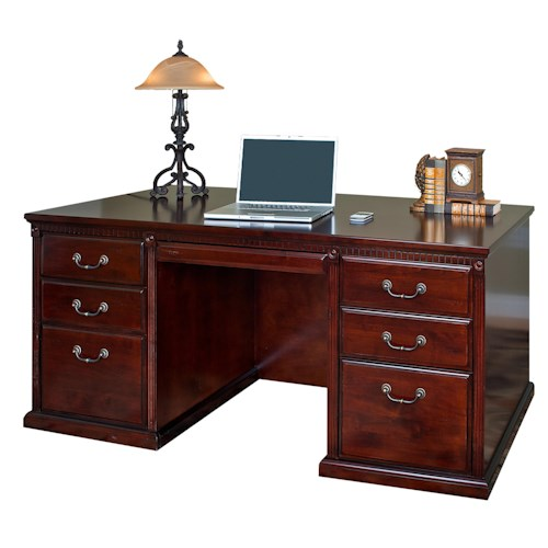 kathy ireland Home by Martin Huntington Club Traditional Six Drawer Double Pedestal Desk