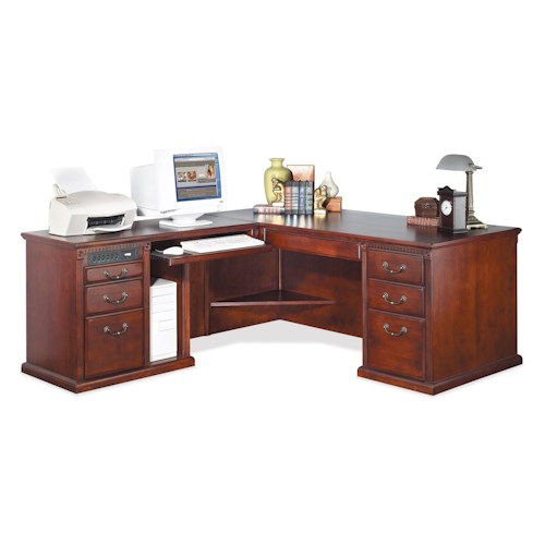 kathy ireland Home by Martin Huntington Club Traditional Computer Ready  L-Shape Corner Desk