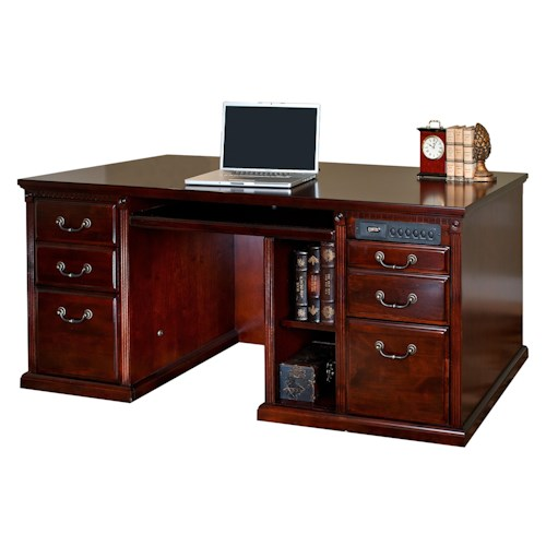 kathy ireland Home by Martin Huntington Club Traditional Double Pedestal Computer Desk with Power Communication Center and CPU Storage