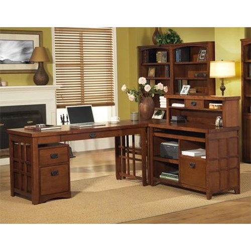 kathy ireland Home by Martin Mission Pasadena L-Shape Desk with Laptop/Writing Desk & Internet Credenza