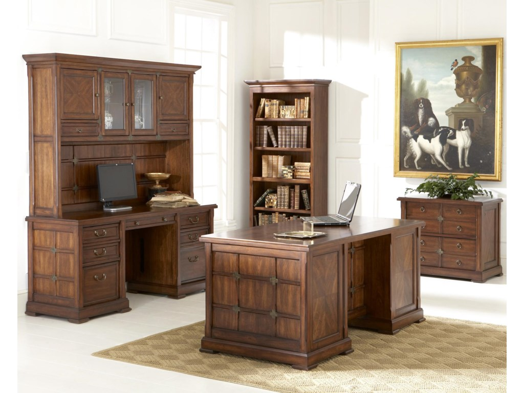 Shown in Room Setting with Bookcase, Executive Desk, Credenza and Hutch.