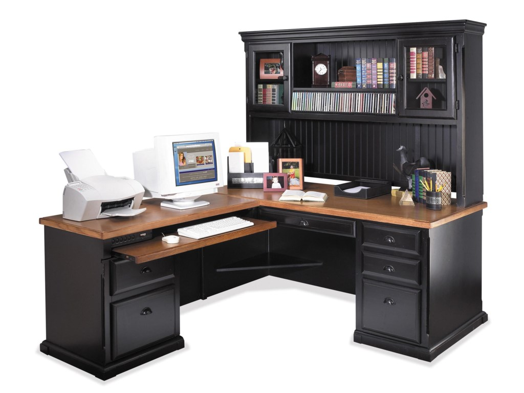 kathy ireland Home by Martin SouthamptonL-Shaped Desk with LHF Return and Hutch