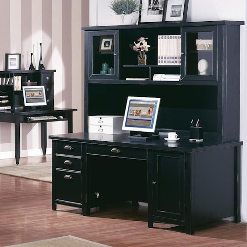 kathy ireland Home by Martin Tribeca Loft Double Pedestal Desk & Hutch