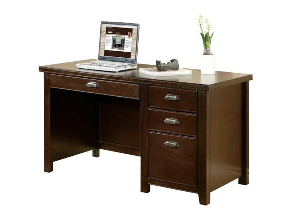 kathy ireland Home by Martin Tribeca LoftSingle Pedestal Desk with Hutch