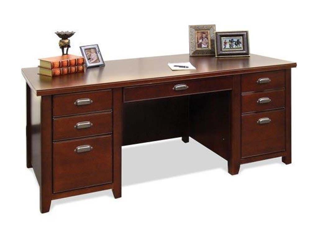kathy ireland Home by Martin Tribeca LoftDouble Pedestal Desk & Hutch
