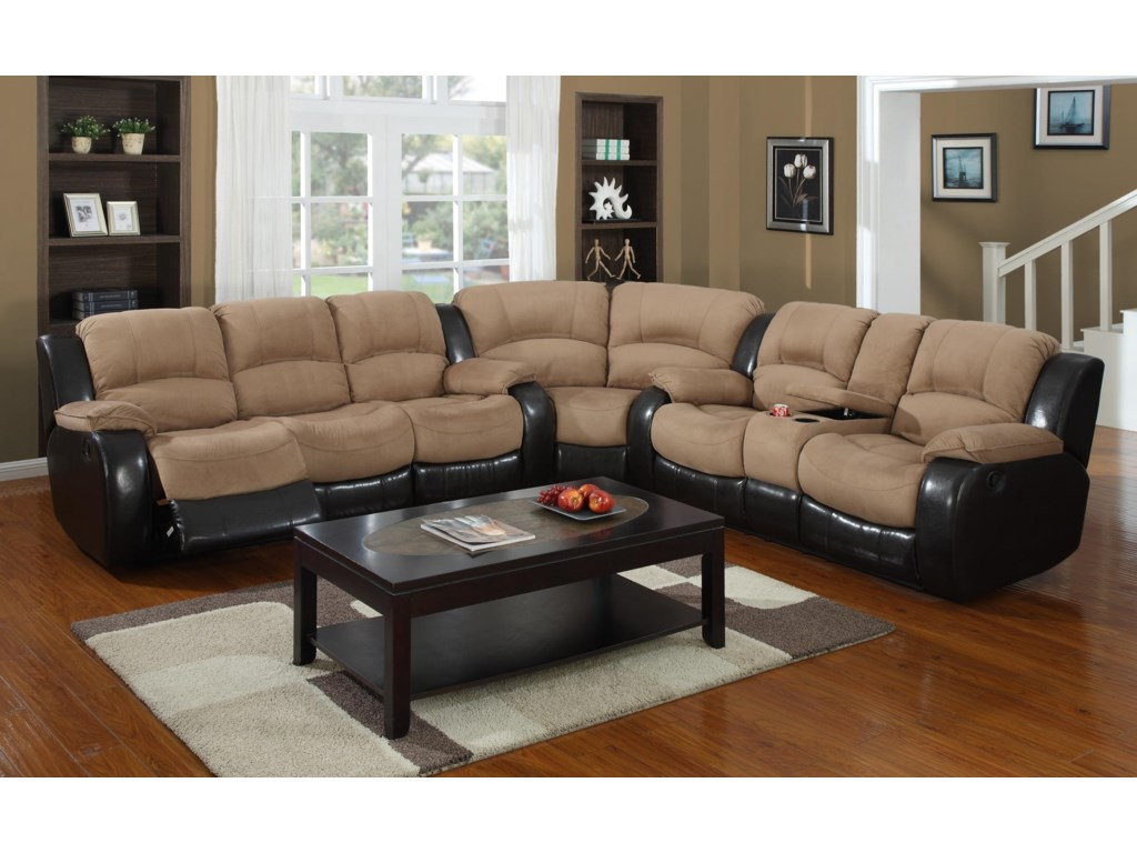 Kian 31543 Pc Reclining Sectional Sofa w/ Console