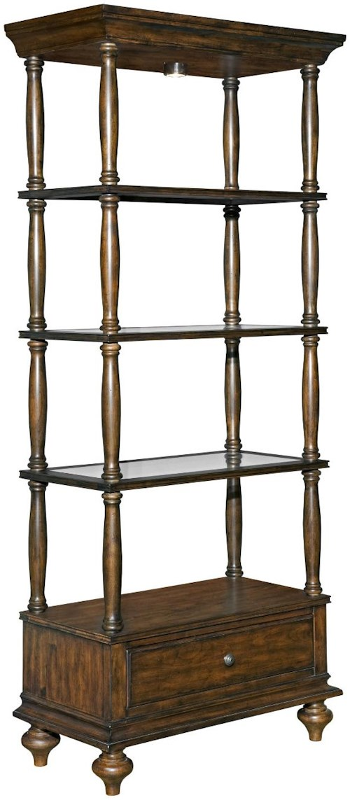 Kincaid Furniture Artisans Shoppe Accents Birmingham Etagere with Glass Shelves and Can Lighting