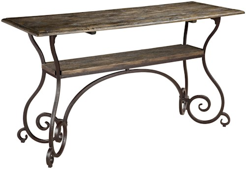 Kincaid Furniture Artisans Shoppe Accents Lorraine Sofa Table with Open Shelf and Metal Scrolled Base