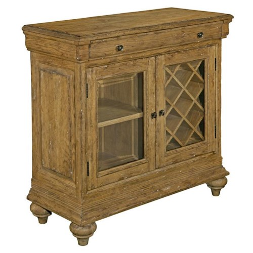 Kincaid Furniture Artisan's Shoppe Dining - Antique Caramel Sauvignon Cabinet with Wine Storage