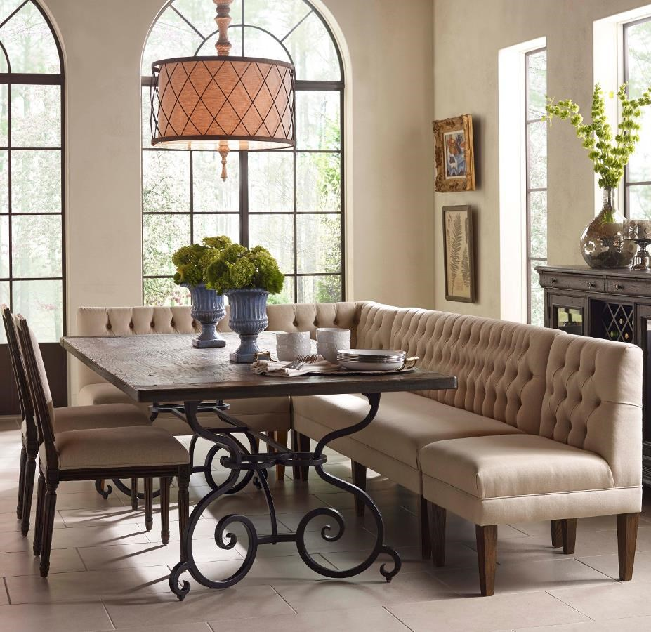 Kincaid Furniture Artisanu0027s Shoppe Dining Seven Piece Rectangular Table  With Upholstered Banquette And French Side Chairs