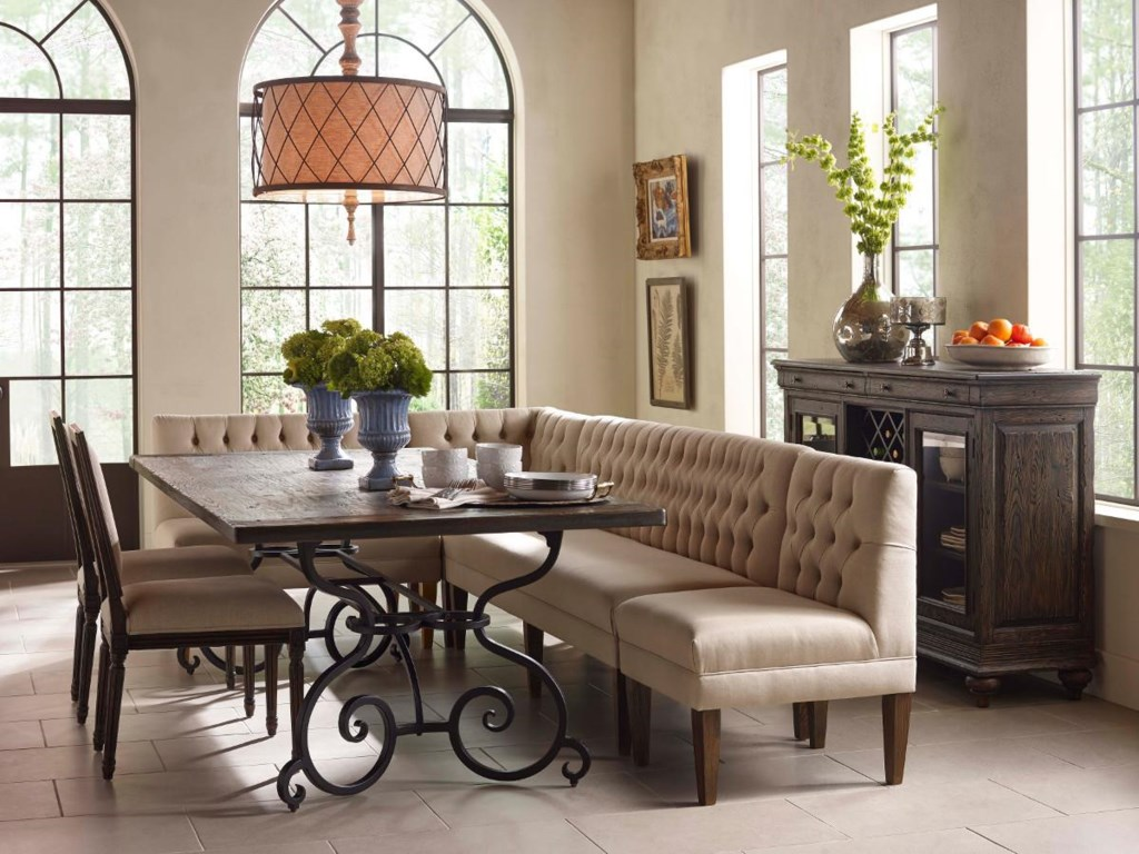 Kincaid Furniture Artisan's Shoppe Dining7 Pc Rect Table, Banquette, French Chairs